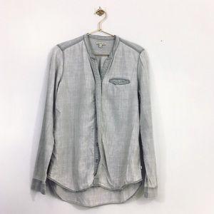 Calvin Klein jeans button down flowy grey blouse